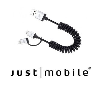 Just Mobile AluCable Duo Twist 1.8米 Lightning/Micro USB雙用傳輸線