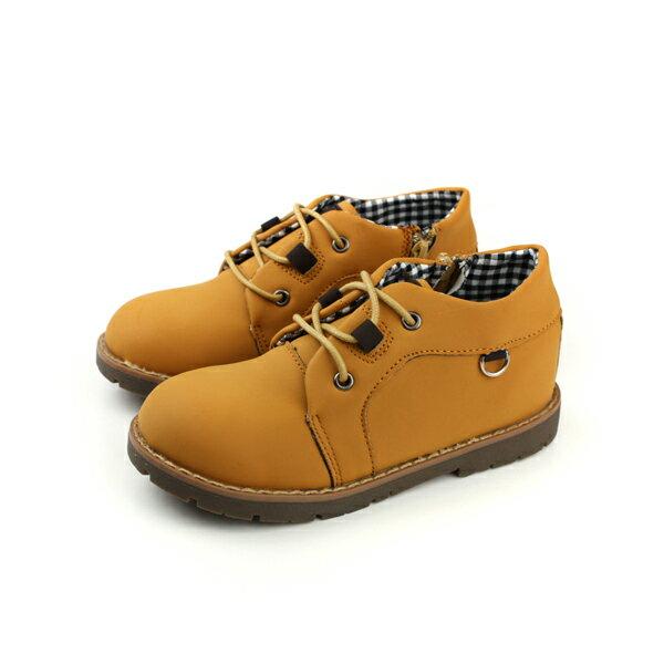 HUMAN PEACE:HABU皮鞋馬丁鞋綁帶土黃色童鞋MD32B-YLno004