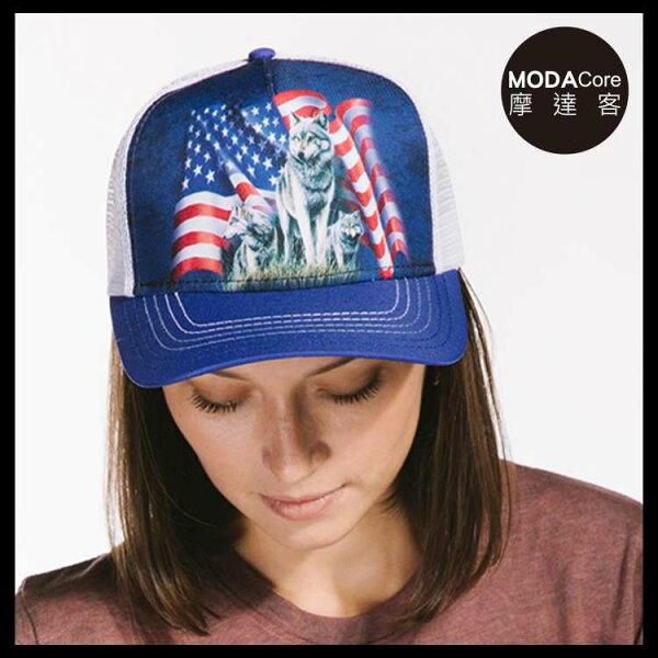 【摩達客】(預購)美國進口TheMountain野狼與旗藝術棒球帽網帽5-Panel新五分割帽