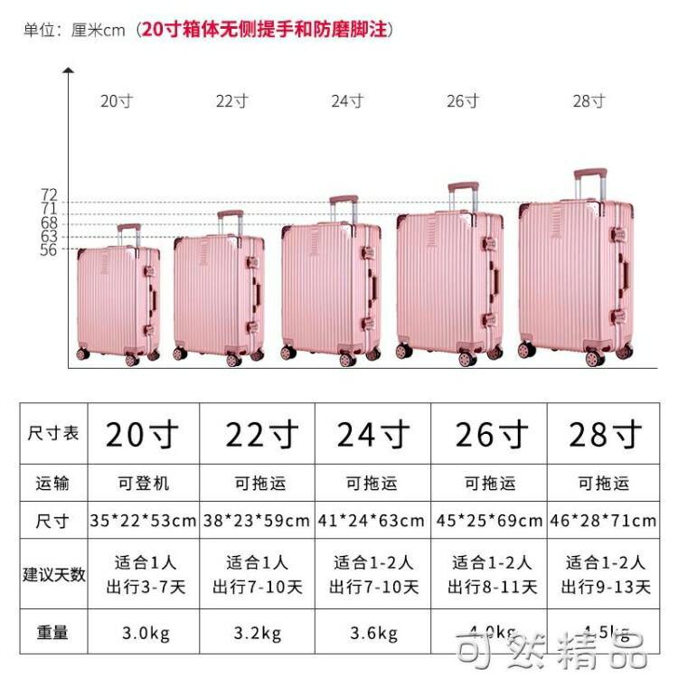 行李箱ins網紅新款20寸學生男女韓版24鋁框拉桿旅行密碼皮箱子潮 走心小賣場快速出貨