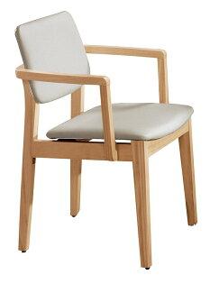 【石川家居】YE-A474-07莫德原木雙扶手亞麻皮餐椅(白皮)(單張)(不含餐桌與其他商品)台北到高雄搭配車趟免運