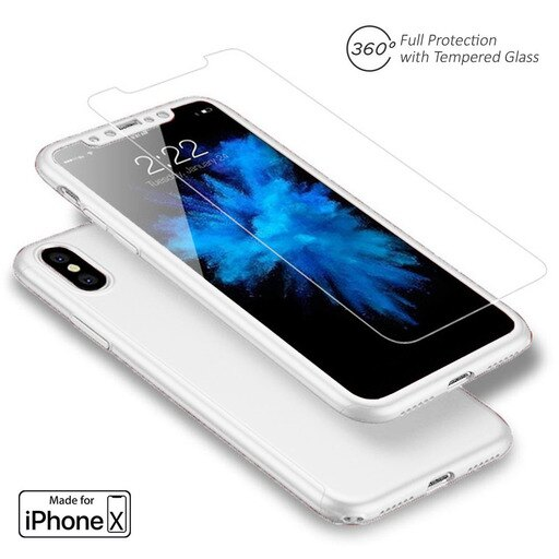 Indigi Apple iPhone X 10 Tempered Glass Screen 360 FullBody Protective Case Cover White e69b21b4a6f188262d06b5b549c9a470
