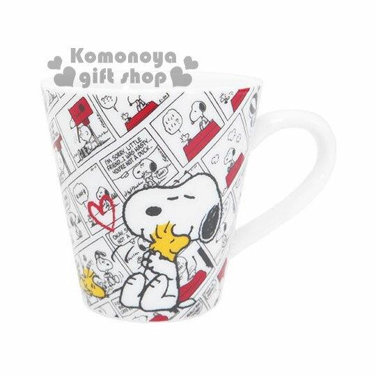 〔小禮堂〕史努比 陶瓷馬克杯《白底.漫畫.擁抱.280ml》盒裝