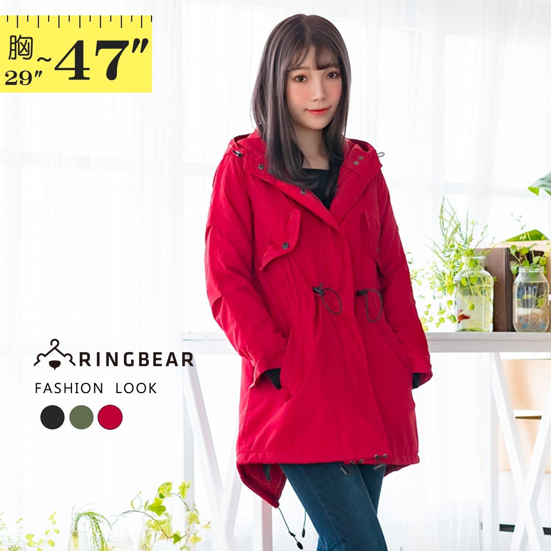 防風外套--時尚保暖立領連帽開衩口袋收腰拉鍊風衣外套(黑.紅.綠S-3L)-J266眼圈熊中大尺碼 1