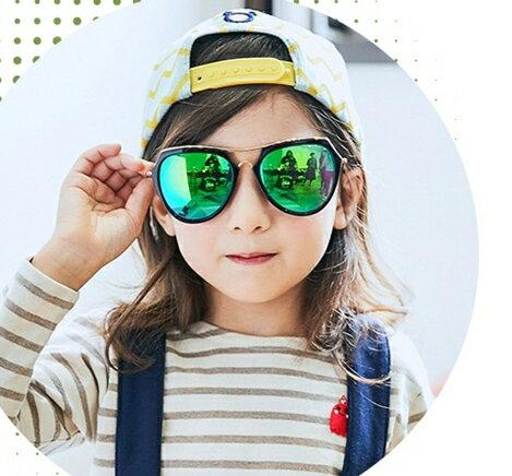 Lemonkid:Kocotree◆時尚幾何金邊兒童炫彩太陽眼鏡-真綠片+亮黑