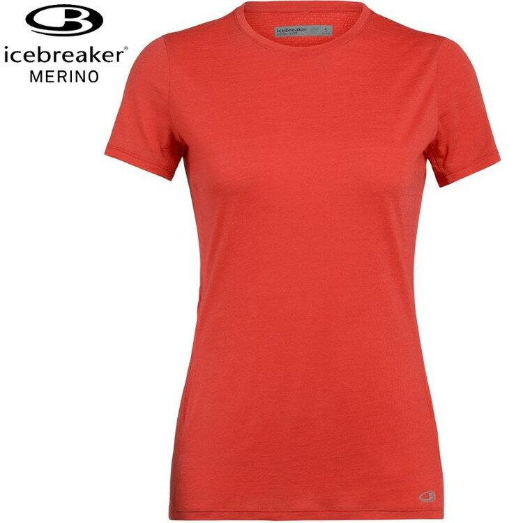 Icebreaker 美麗諾羊毛 圓領短袖上衣/排汗衣 女款 Amplify Cool-Lite GT130 104765 618 橘紅