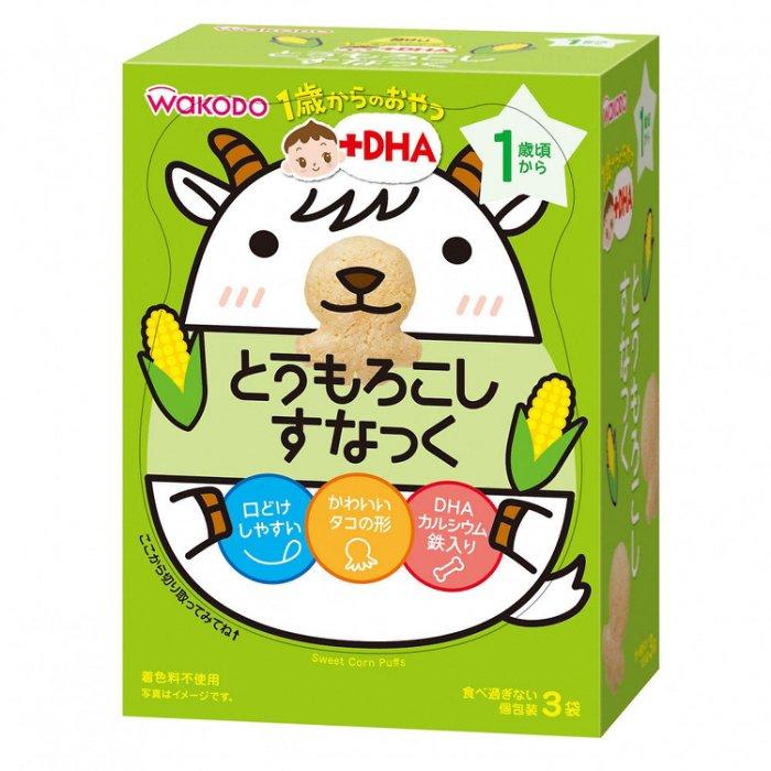 日本和光堂 玉米餅乾 芝麻仙貝 DHA一歲餅乾 嬰兒餅乾 健康餅乾 四連 盒裝_櫻花寶寶