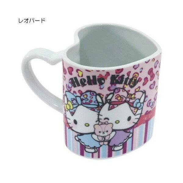 X射線【C228584】Hello Kitty愛心馬克杯(豹紋),陶瓷杯/水杯/玻璃杯/茶杯/咖啡杯/交換禮物