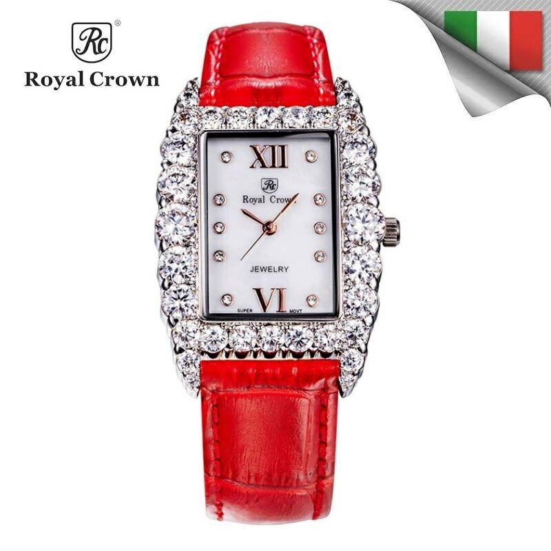 機芯 長方氣質鑲鑽石英女錶 真皮錶帶 多色  6111P免 義大利品牌 手錶 蘿亞克朗 R