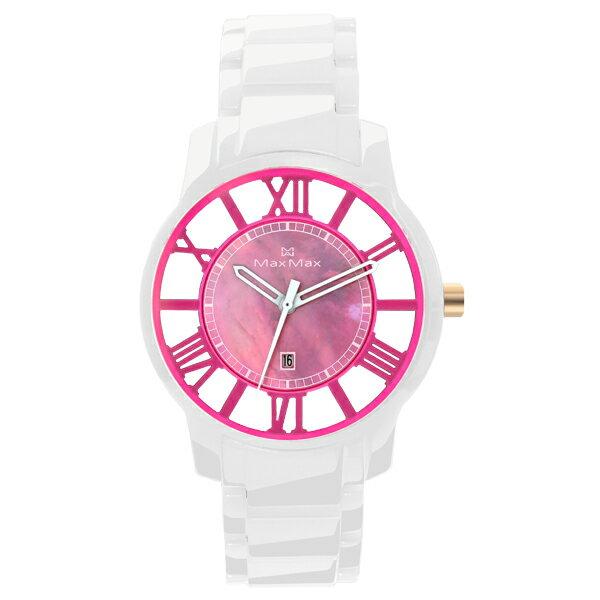 Max Max MAS5130-5時尚鏤空桃紅陶瓷腕錶/桃紅面38mm
