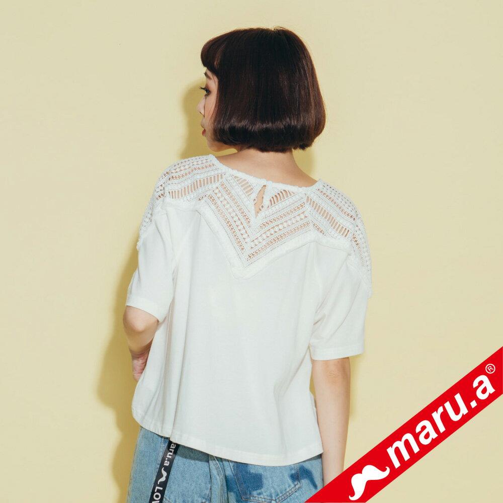 【maru.a】胸前送子鳥刺繡寬鬆下擺蕾絲透膚上衣(2色)8311224 2