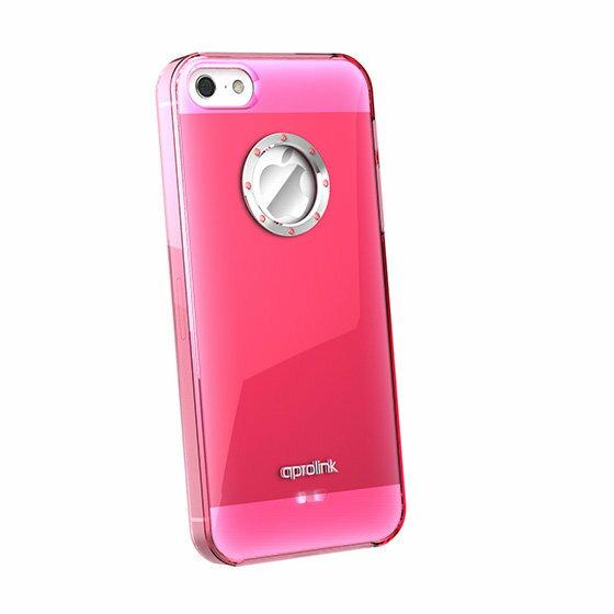 ~斯瑪鋒數位~AproLink Apple iPhone 5/5S /5SE 琉璃彩鑽外殼(透明桃紅)