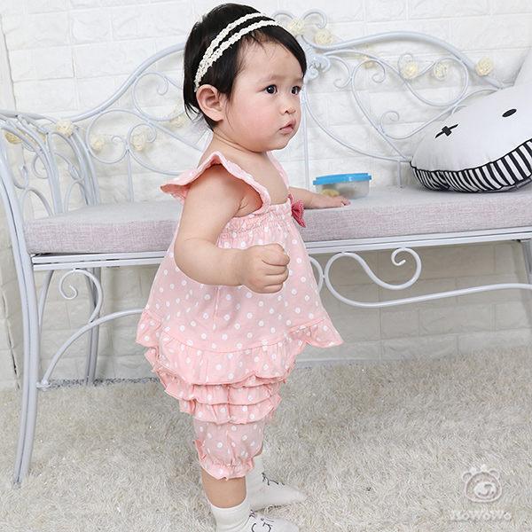嬰兒短袖套裝 吊帶背心 短褲 花邊蛋糕褲 寶寶 CA3230 好娃娃