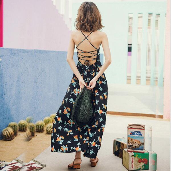 PS Mall 印花海邊沙灘裙 露背裙 連身裙 洋裝【T380】 0