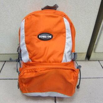 ~雪黛屋~POWERONE BAG 電腦後背包 可放小型尺吋筆電 防水尼龍布材質外出上學萬用包33-839 桔