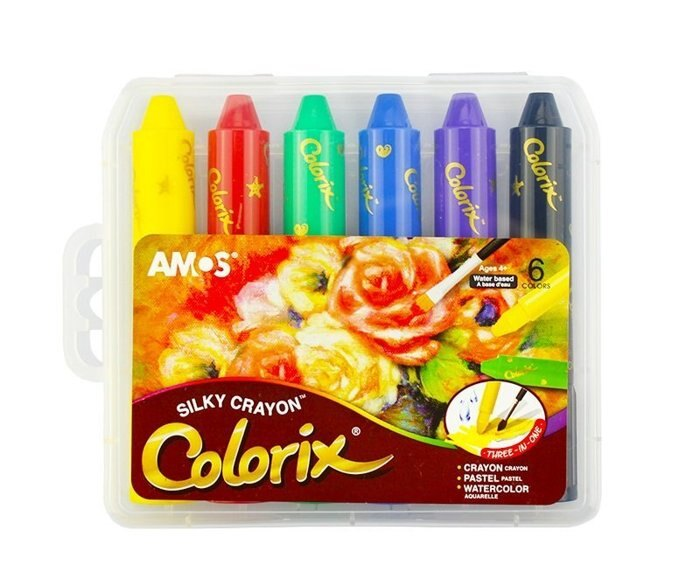 『粗款6色』(國際英文版) 【韓國AMOS】旋轉式蠟筆 筆筒含筆套 水溶性 多用途 粉彩 水彩 無毒 阿摩司 水蠟筆