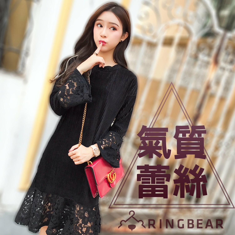 黑色洋裝--氣質空花蕾絲優雅時尚燈心絨圓領修身魚尾連身裙(黑L-3L)-A317眼圈熊中大尺碼 0