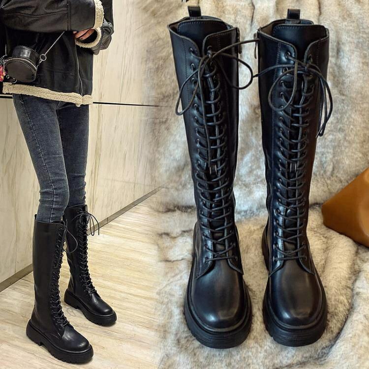 長靴女不過膝2020新款秋款百搭網紅顯瘦中筒靴長筒高筒加絨騎士靴