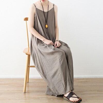 連身長裙寬版連衣裙-不規則裙襬純色細肩帶女上衣73sm10【獨家進口】【米蘭精品】