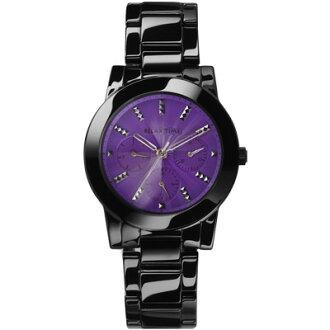 RELAX TIME繽紛三眼陶瓷黑紫面腕錶(RT-52-8)