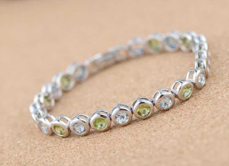 銀圓形托帕石小清新手鏈 女款銀手鏈飾品 閨蜜手鏈