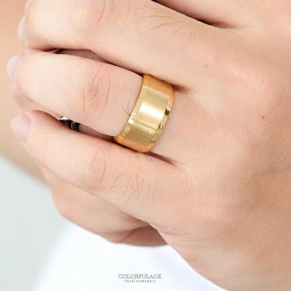 戒指耀金色亮霧素面寬版鋼戒指柒彩年代【NC219】