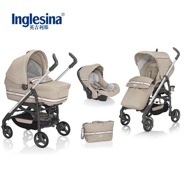 義大利原裝進口 英吉利那Inglesina 尊爵Trilogy雙向多功能嬰兒推車--組合款( 卡其色)