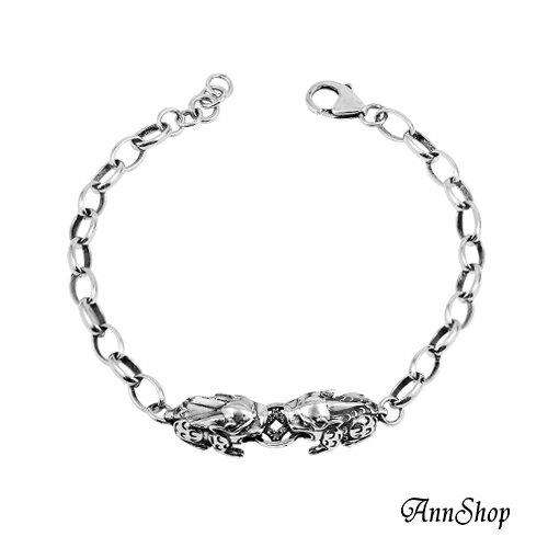 AnnShop~925純銀‧晶賺錢公母貔貅手鍊~~女款~銀飾飾品  情人 HL0096