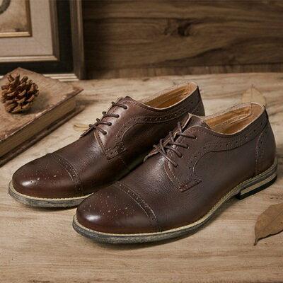 短靴真皮繫帶靴子-英倫復古巴洛克雕花男靴2色73kk89【獨家進口】【米蘭精品】