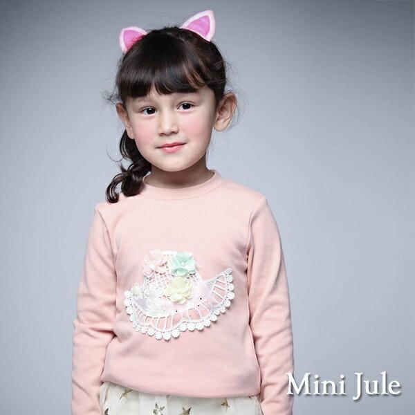 《Mini Jule 童裝》上衣 立體花朵帽子長袖棉質T恤(粉)
