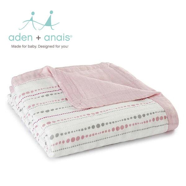 A+A被毯被子寶寶毯蓋毯Aden+Anais美國竹纖維被毯120*120cm-粉紅水滴