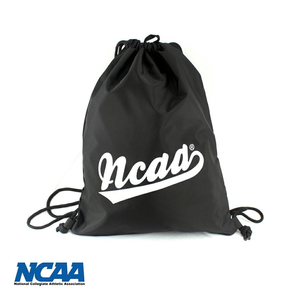 【002033-06】NCAA 束口包 大字母束口防潑水拉繩後背包_黑色
