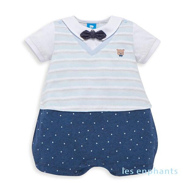 lesenphantsbaby條紋小熊假二件式連身裝-麻花藍