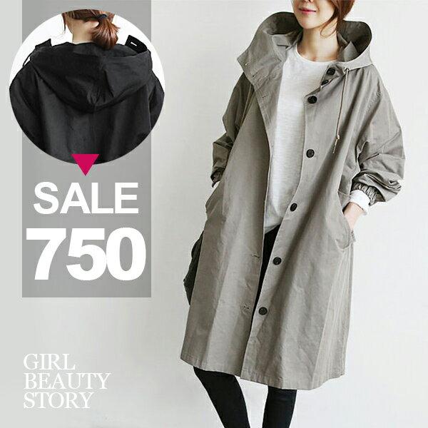 SiSi Girl:SISI【C7031】英倫風抽繩連帽超寬鬆單排扣中長款風衣罩衫外套