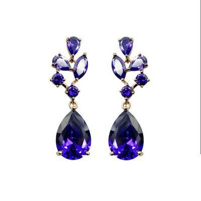 玫瑰金耳環925純銀鑲鑽耳飾~高貴復古水滴 情人節生日 女飾品73gs121~ ~~米蘭
