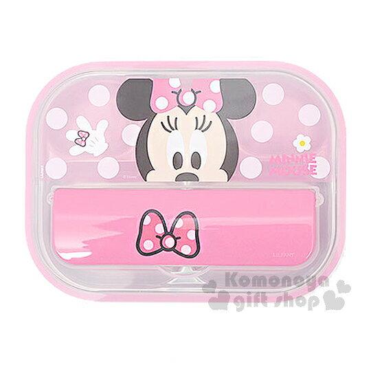〔小禮堂韓國館〕迪士尼 米妮 不鏽鋼餐盤式便當盒《粉.點點.大臉》附便當袋