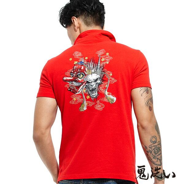 【春夏新品】鬼洗天狗繡花POLO衫(紅)-BLUEWAYONIARAI鬼洗