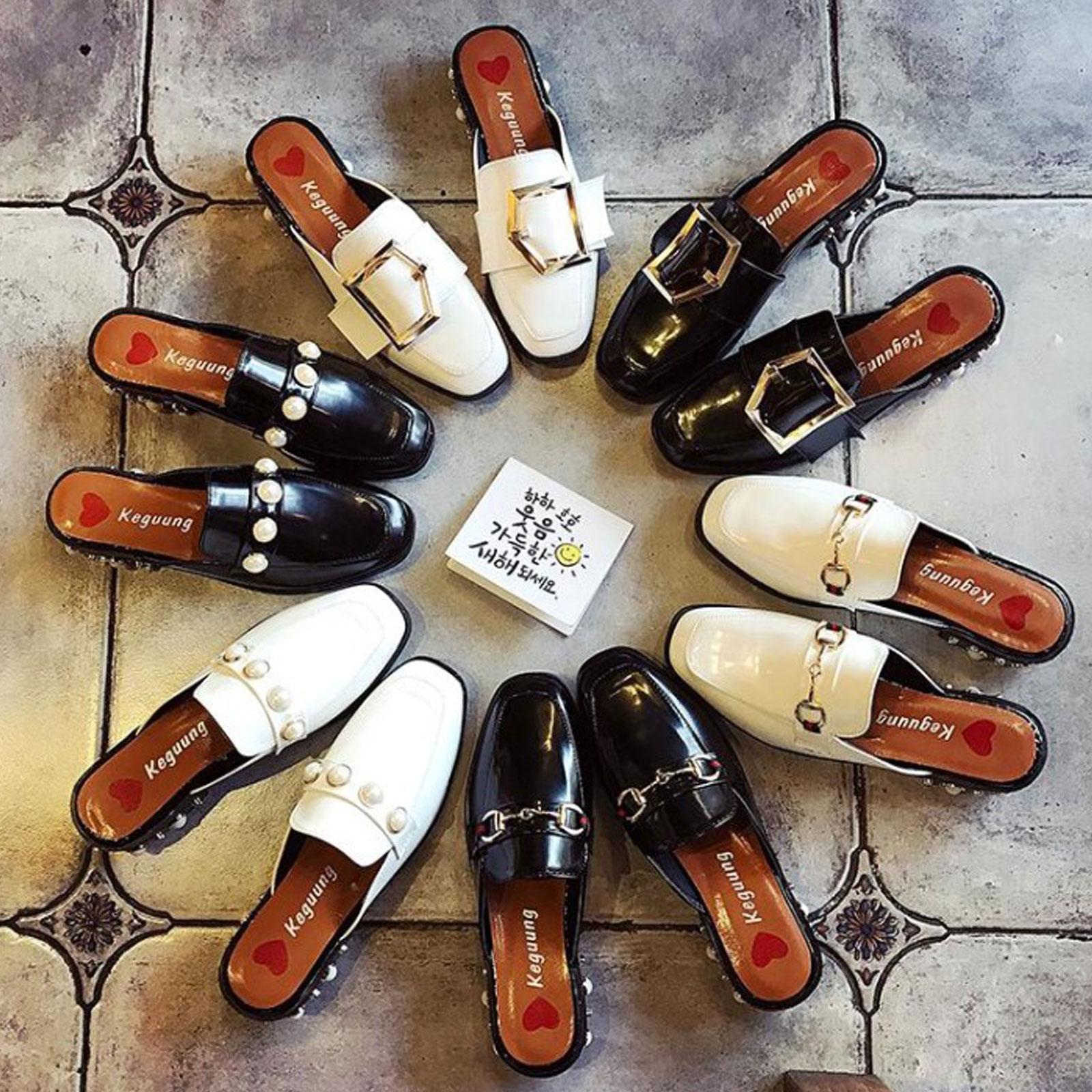 懶人鞋 淺口珍珠裝飾方頭粗跟半拖鞋【S1693】☆雙兒網☆ 5