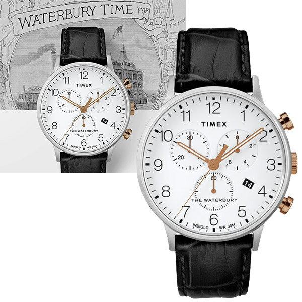 【go錶趣】TIMEX 天美時(TXTW2R71700) Waterbury系列 三眼計時 手錶 男錶/40mm INDIGLO專利夜光 日期顯示