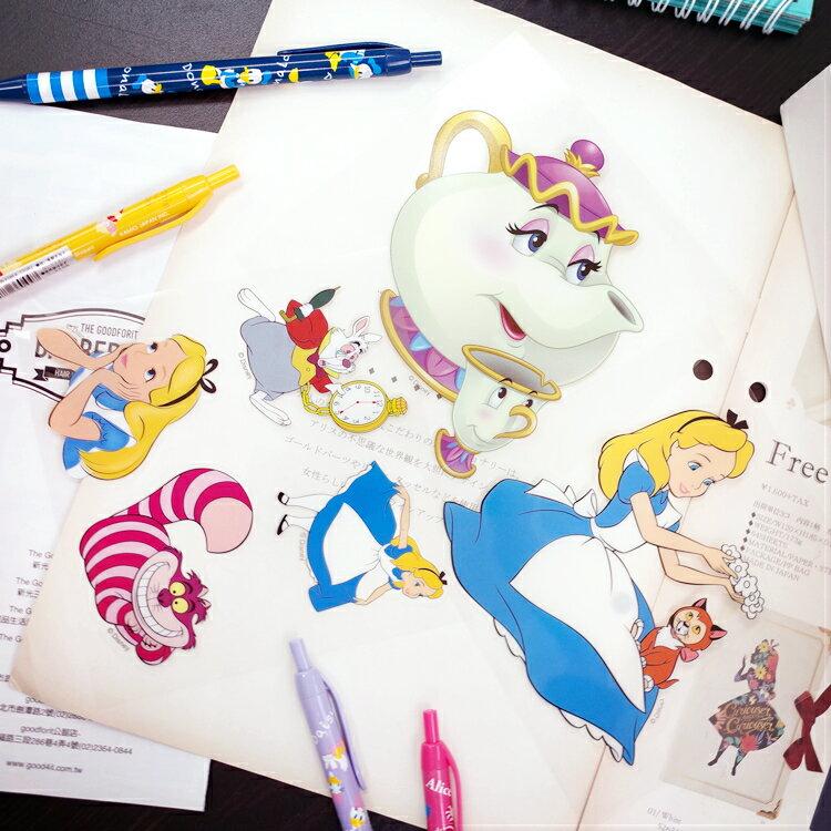 PGS7 迪士尼系列商品 - 迪士尼 防水 貼紙 愛麗絲 Alice 美女與野獸 茶壺媽媽【SHP7655】