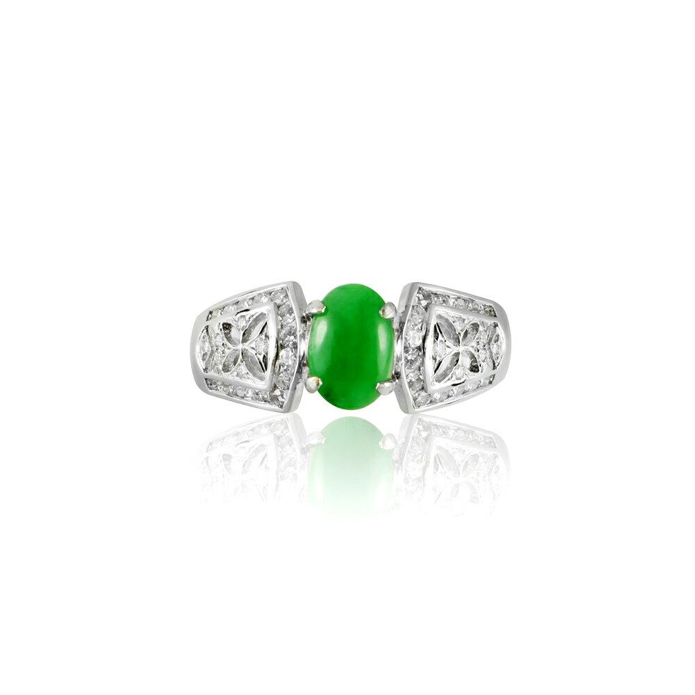 大東山珠寶 簍空蝶漾 天然緬甸正陽綠A貨翡翠 頂級真鑽18K白金戒 1