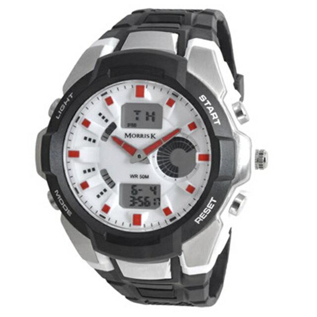 【Morris K】羅志祥代言 賽道較勁運動潮流電子錶 MK14069-WH