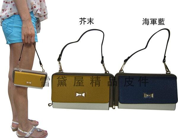 ~雪黛屋~SALUT長夾包5.5吋手機大皮夾專櫃100%牛皮拉鍊包覆附盒不折鈔提肩斜側附長短帶BSA960555A-1