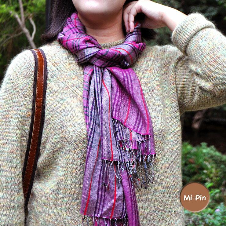 【Mi-Pin】喀什米爾Pashmina羊絨圍巾-典雅方格-4色
