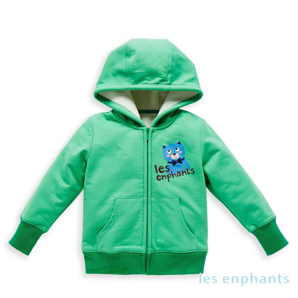 les enphants 繽紛動物園內毛絨連帽外套-草綠色