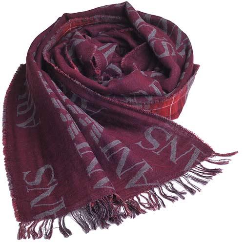 ARMANI JEANS 字母AJ LOGO高質感羊毛混棉質造型圍巾(酒紅)