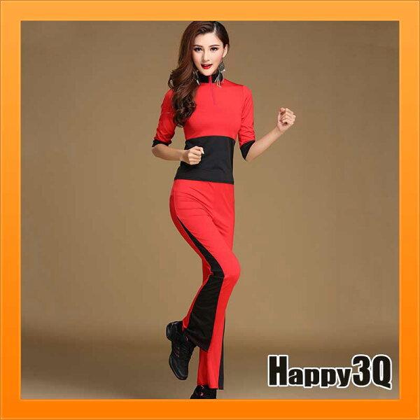 運動套裝跳舞服裝舞蹈衣服跑步健身房瑜珈慢跑健走休閒大尺碼-M-5XL【AAA3964】