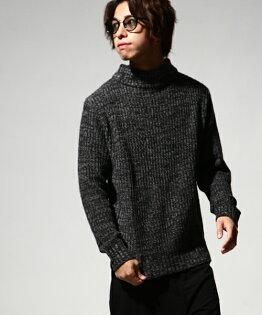 中高領毛衣12杢BLACK