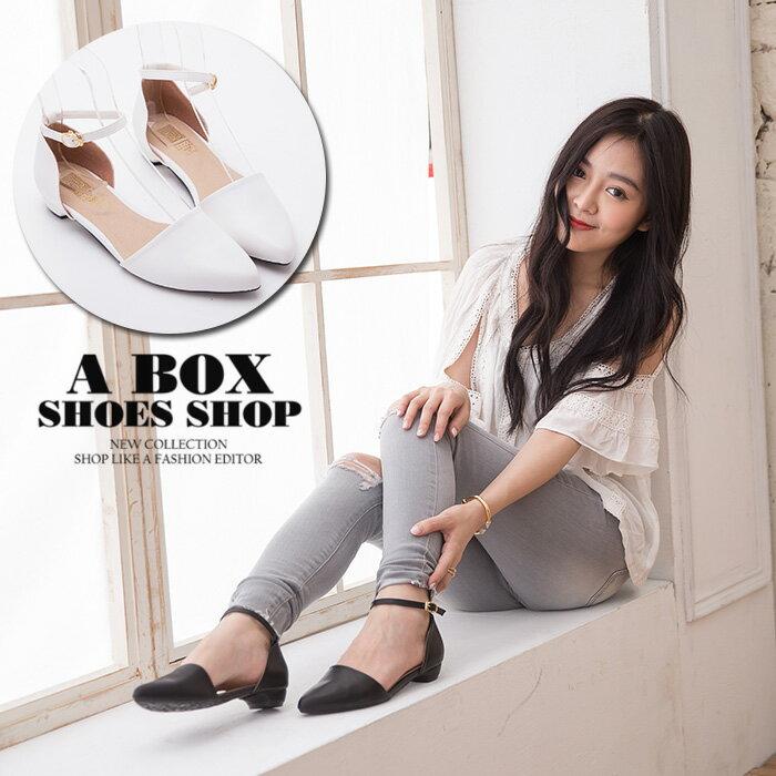 格子舖*【KW326】MIT台灣製 氣質女神質感皮革 2CM低粗跟 瑪莉珍繞踝 尖頭包鞋 2色 - 限時優惠好康折扣