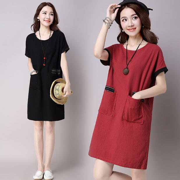 韓版寬鬆棉麻洋裝